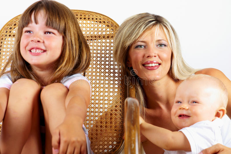 Rocking Chair : Mother And Son And Daughter Stock Images