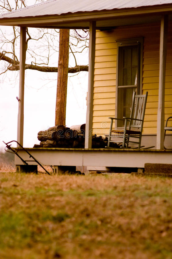 Rocking Chair on an Old Porch royalty free stock photography
