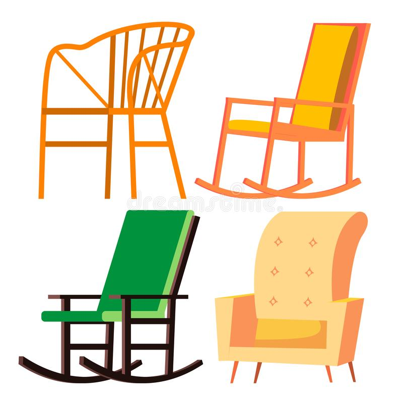 Rocking Chair Vector. Retro Furniture. Comfortable Home Wooden Chair. Isolated Cartoon Illustration. Rocking Chair Vector. Retro Furniture. Comfortable Home royalty free illustration