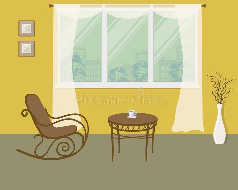 Rocking chair on a window background in yellow room. There is also a coffee table, a vase with decorative branches and pictures frames in the image. Vector vector illustration