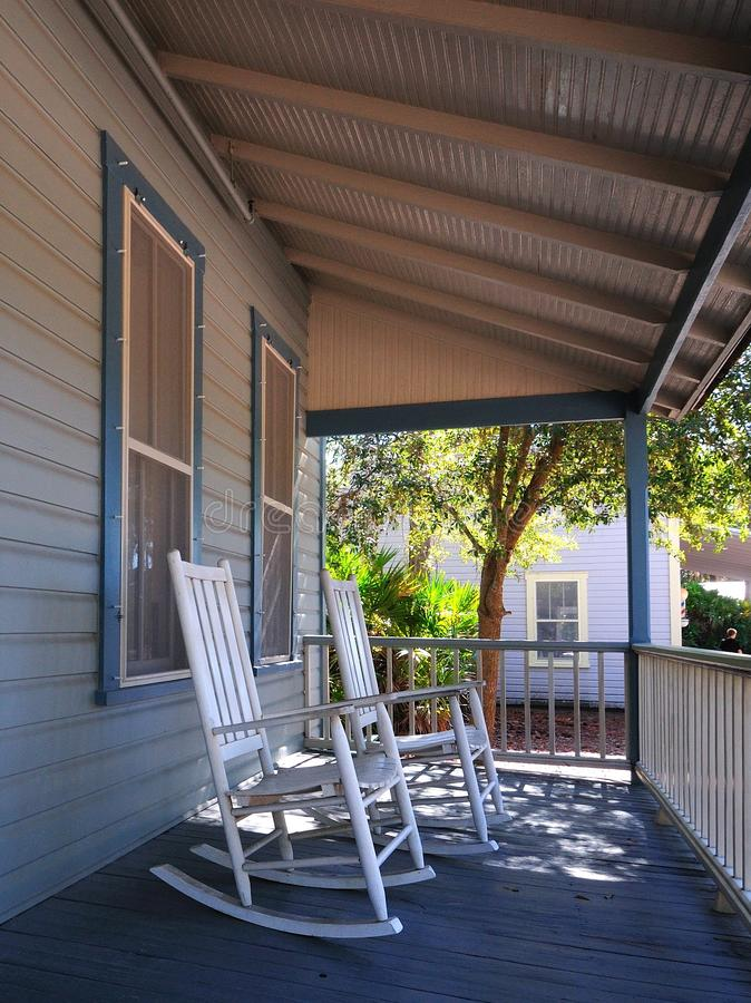 Rocking chairs on a porch royalty free stock photography