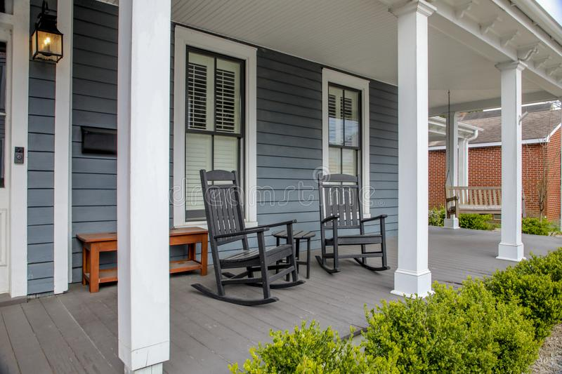 Rocking chairs on the porch royalty free stock images