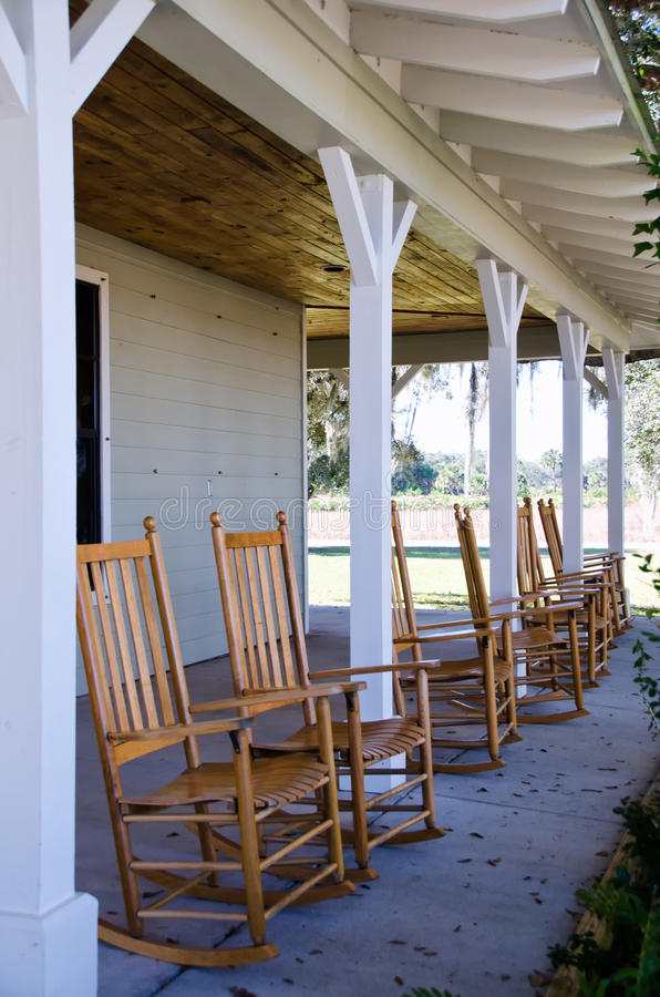 Rocking chairs on a porch royalty free stock images