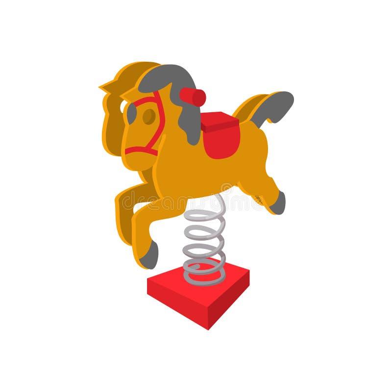 Rocking horse cartoon icon. On white background stock illustration