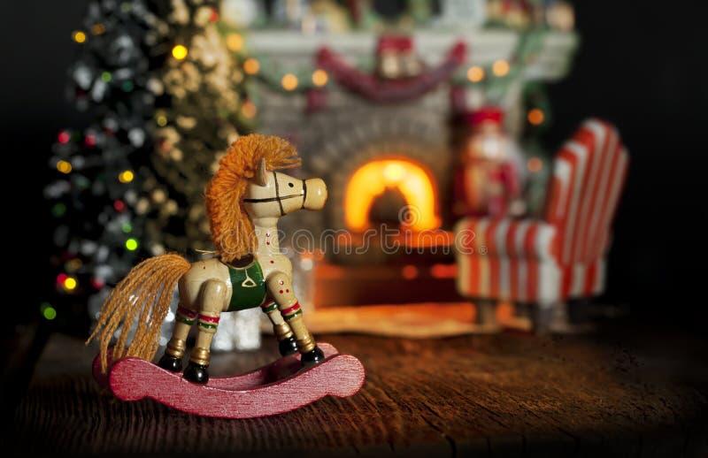 Rocking Horse Christmas Fireplace royalty free stock photos