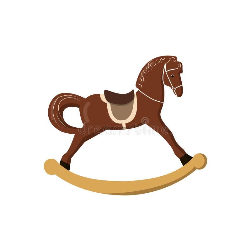 Rocking-horse colorful vintage christmas toys for kids. vector illustration