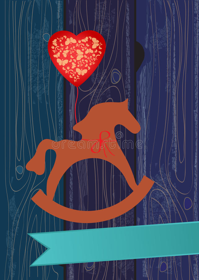 Free Rocking Horse With A Heart Shaped Balloon Stock Image - 30519781