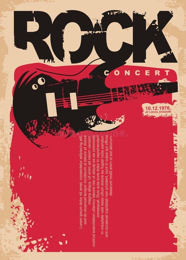 Rockkonzertplakatschablone mit E-Gitarre auf grungy rotem Hintergrund lizenzfreie abbildung