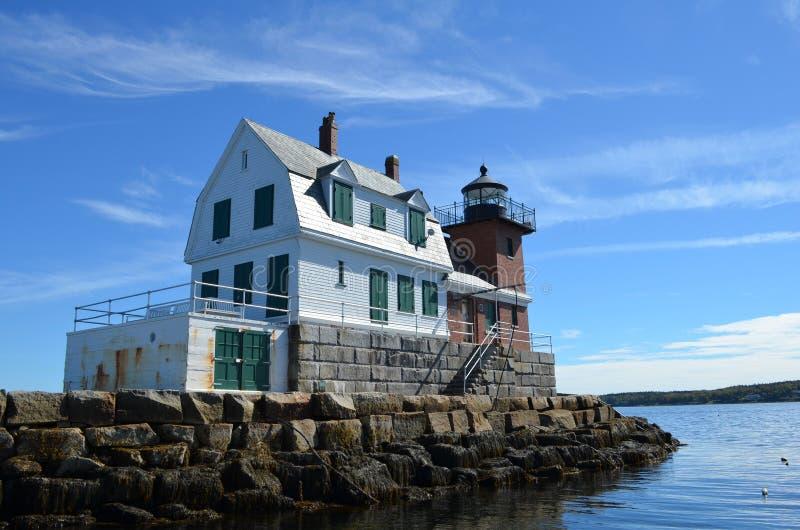 Rockland Breakwater Lighthouse stock photo