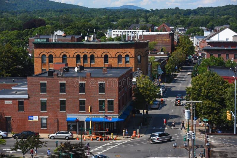 Rockland Historische van de binnenstad, Rockland, Maine stock foto