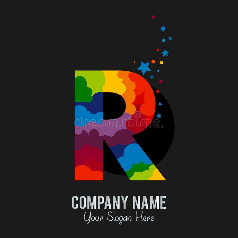 Rockline listu R loga szablonu projekta wektor royalty ilustracja