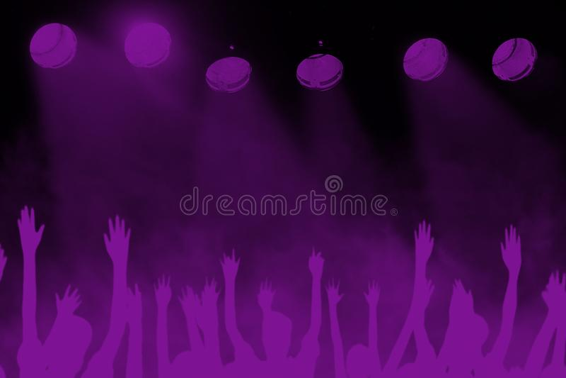 Rockmusik-Festival-Konzert-Hintergrund, Purpur, violett lizenzfreies stockfoto