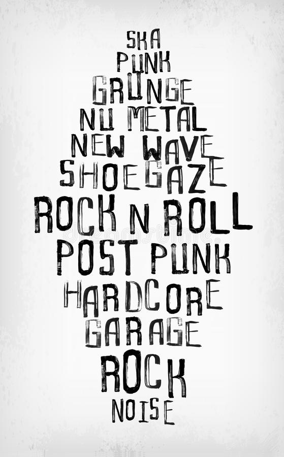 Rockmusik redet Tag-Cloud, Grunge oldschool Typografiestempel an lizenzfreie abbildung