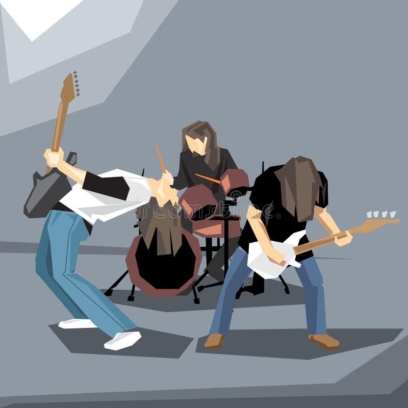 Rockmusikband, die am Stadium durchführt lizenzfreie abbildung
