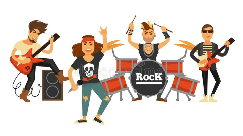 Rockmusikbandsänger und -musiker mit Musikinstrumenten vector flache Ikonen vektor abbildung
