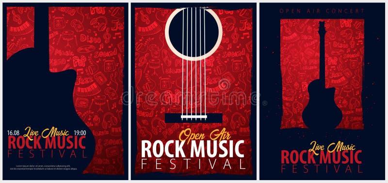 Rockmusikfestival Geöffnete Luft Satz von Fliegerdesign Schablone mit Gekritzel des Handabgehobenen Betrages auf dem Hintergrund stock abbildung