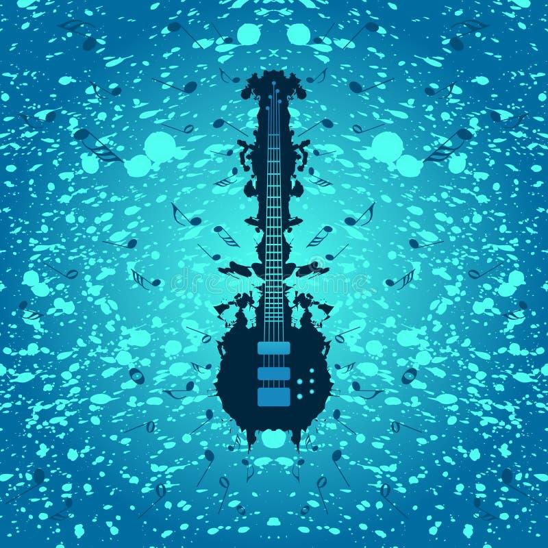 Rockmusikhintergrund - Baß-Gitarre lizenzfreie abbildung