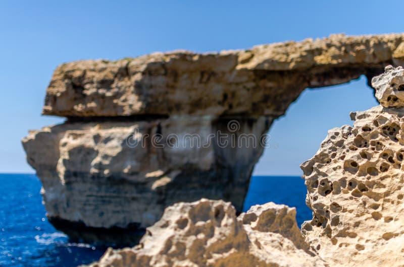 Rockowa erozja Lazurowym okno w Gozo, obrazy stock