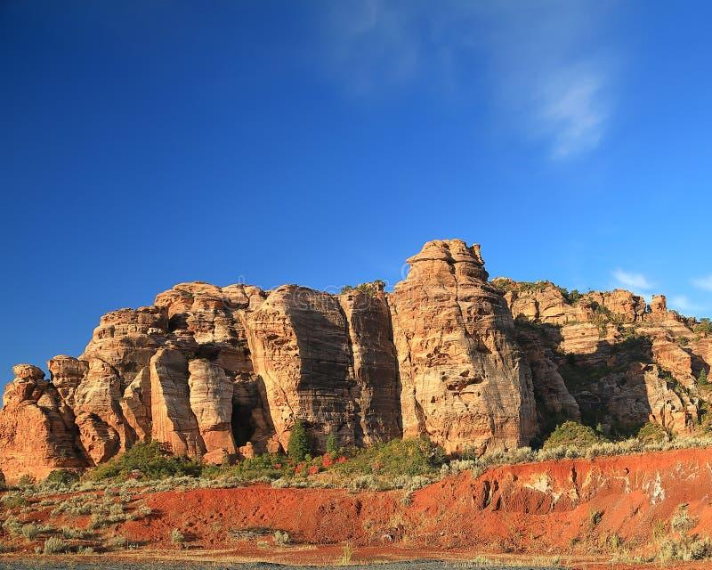 Rockowa formacja na zachodniej krawędzi Zion park narodowy zdjęcie stock