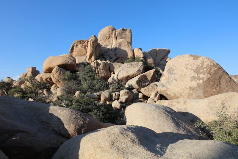 Rockowa formacja przy Chowanym Dolinnym śladem w Joshua drzewa parku narodowym california obrazy royalty free