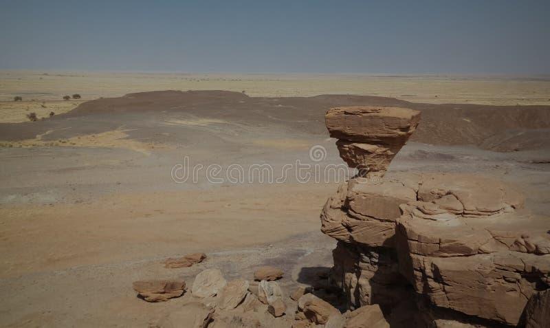 Rockowa formacja przy saharą blisko Tchirozerine regionu, Agadez, Niger obraz stock
