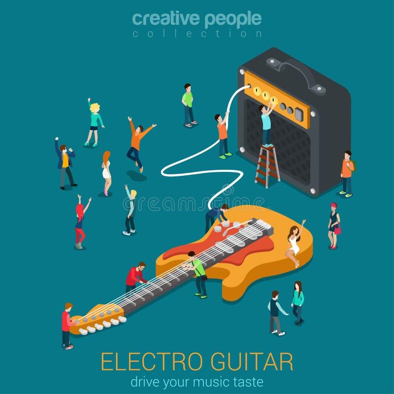 Rockowa gitara i amp combo z mikro ludźmi royalty ilustracja