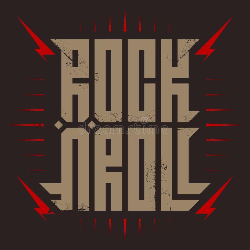 Rockowa ` n ` rolka - muzyczny plakat z stylizowaną inskrypcją, czerwonymi błyskawicami i gwiazdą, Rock and roll - koszulka proje ilustracji