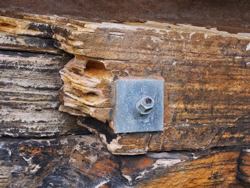 Rockowa Sworzniowa Zabezpiecza Sydney piaskowa ściana, Australia fotografia stock