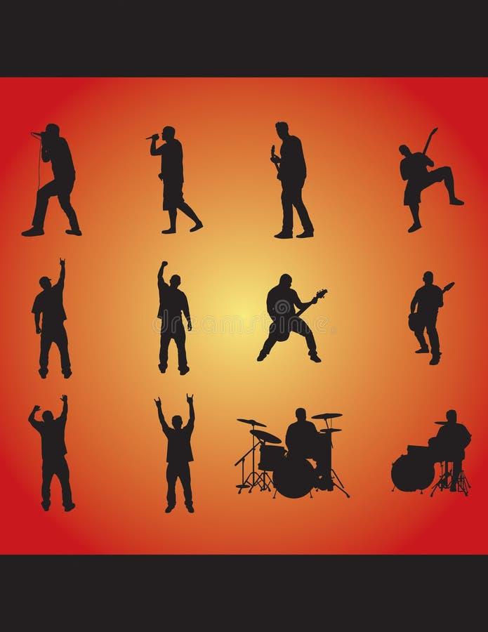 rockowe sylwetki ilustracja wektor