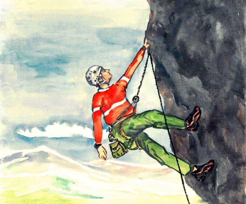 Rockowego arywisty obwieszenie na arkanie na wysokiej skalistej górze, miękkiej części krajobrazowy tło, ręka malował akwarelę royalty ilustracja
