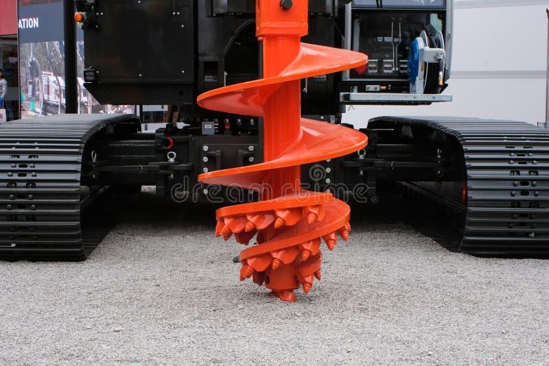 Rockowego auger wiertniczy wyposażenie dla przemysłu budowlanego, palowanie maszyneria, palowanie takielunek fotografia royalty free