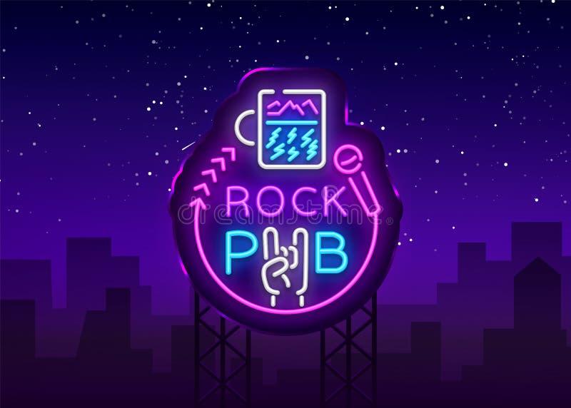 Rockowego Karczemnego loga Neonowy wektor Rockowy Prętowy Neonowy znak, pojęcie z szklaną, Jaskrawą nocy reklamą, Lekki sztandar, royalty ilustracja
