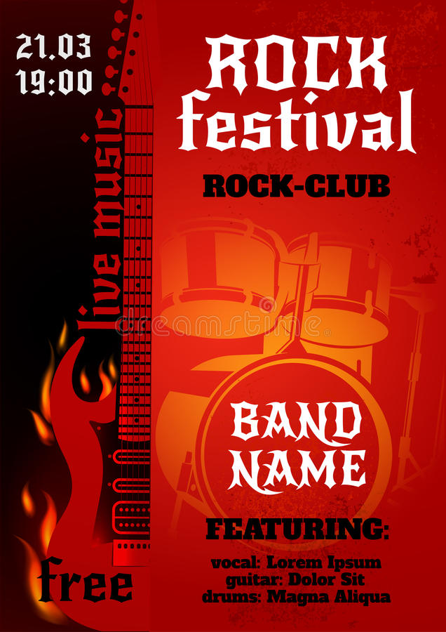 Rockowego koncerta plakat ilustracja wektor
