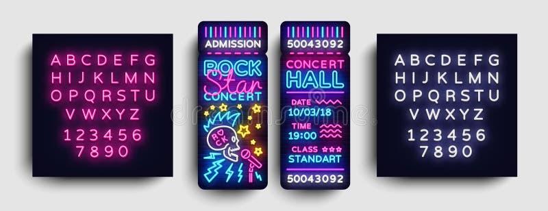 Rockowego koncerta projekta Biletowy szablon w Nowożytnym trendu stylu Gwiazda Rocka Koncertowych biletów Wektorowa ilustracja, N royalty ilustracja