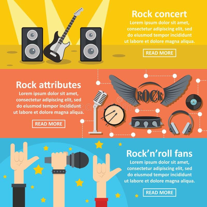 Rockowego koncerta sztandaru horyzontalny set, mieszkanie styl ilustracji