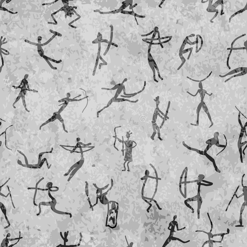Rockowi obrazy z etnicznymi ludźmi, bezszwowymi ilustracji
