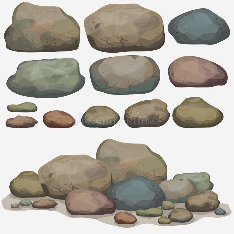Rockowy kamienia set royalty ilustracja