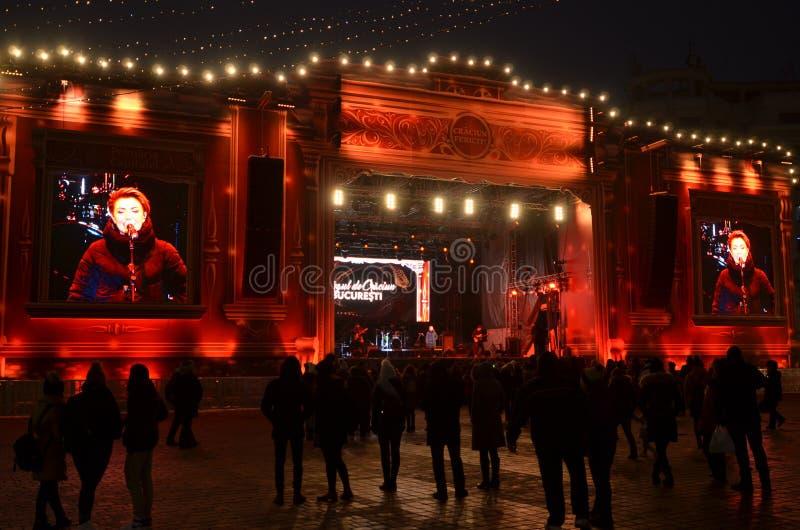 Rockowy koncert przy bożymi narodzeniami rynki, Bucharest obraz stock