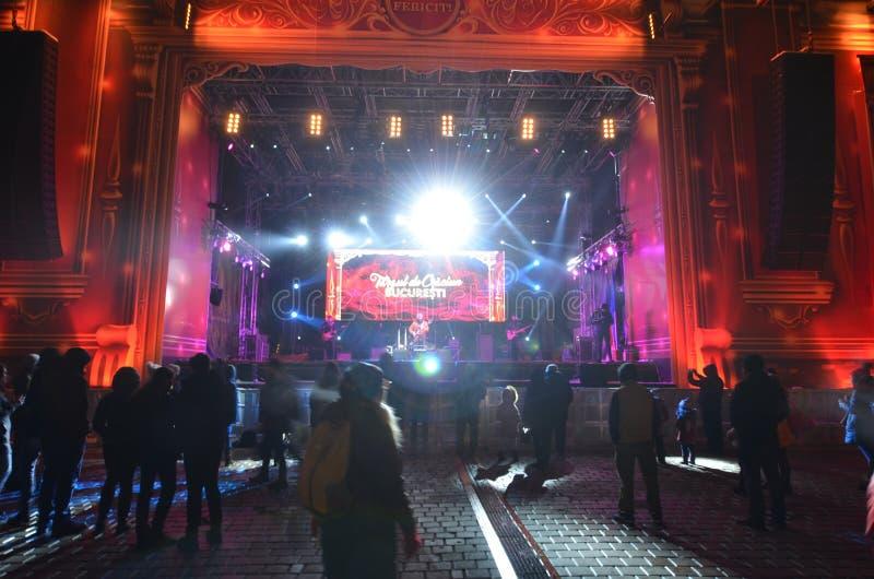 Rockowy koncert przy bożymi narodzeniami rynki, Bucharest fotografia royalty free