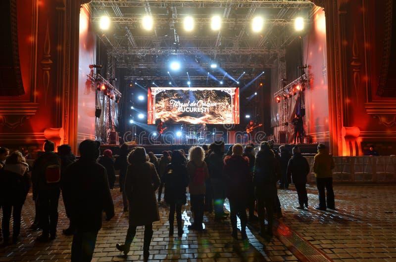 Rockowy koncert przy bożymi narodzeniami rynki, Bucharest zdjęcie stock