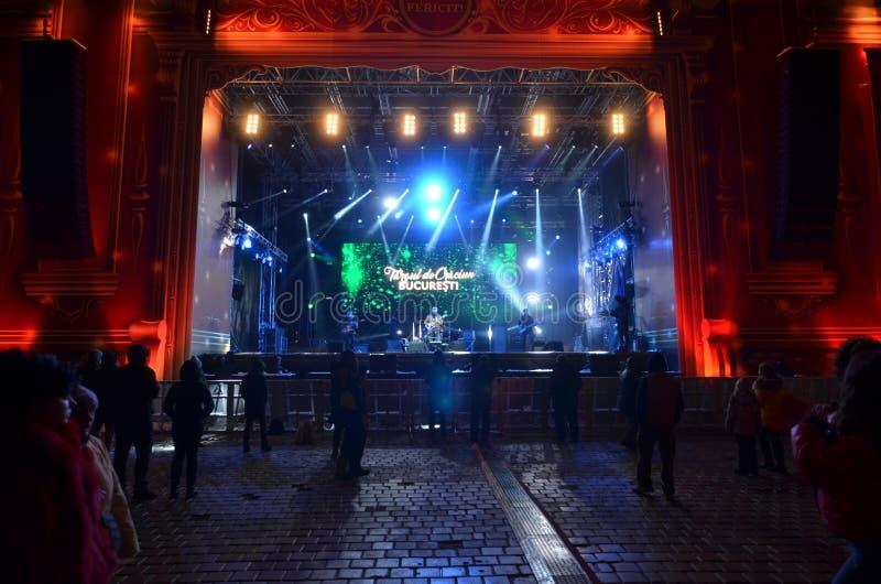 Rockowy koncert przy bożymi narodzeniami rynki, Bucharest obrazy stock