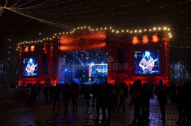 Rockowy koncert przy bożymi narodzeniami rynki, Bucharest zdjęcie royalty free