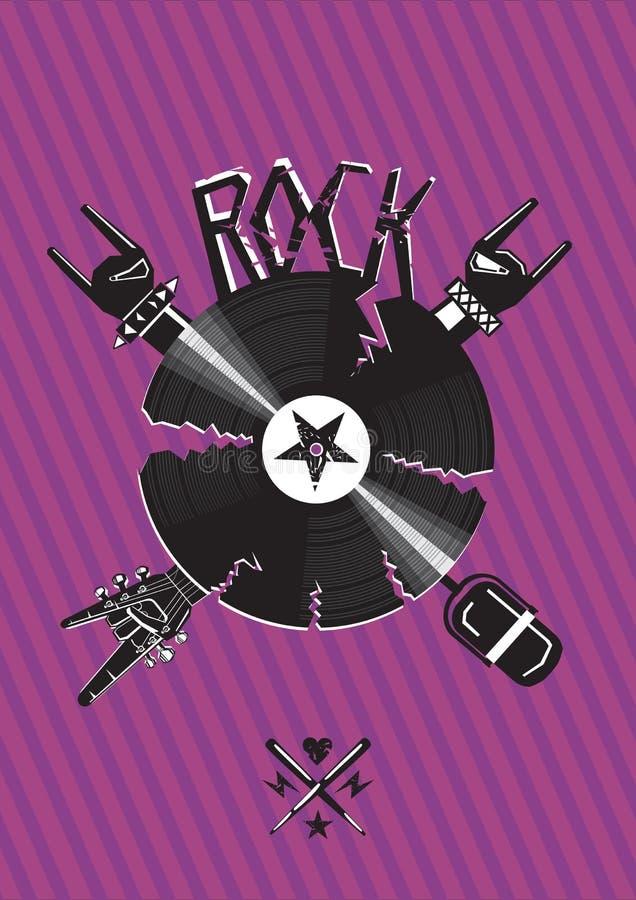 Rockowy plakat z łamać winylowego rejestr royalty ilustracja