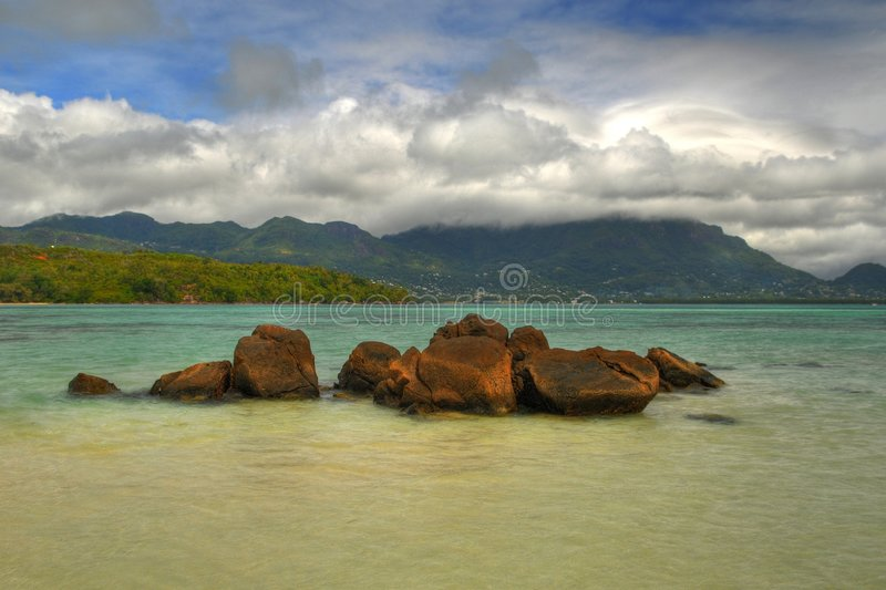 Rocks. HDR picture of rocks in Mahe island, Seychelles stock photos