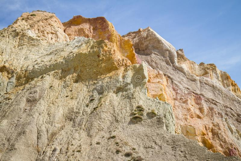 Colourful Rocks at Alum Bay, Isle of Wight, UK royalty free stock photos