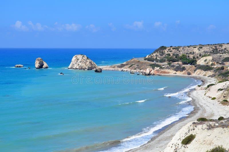 Rocks of Aphrodite, Paphos, Cyprus stock images