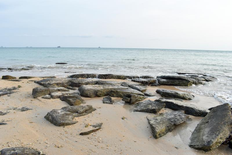 Rocks on the beach The sea was erosion. stock image