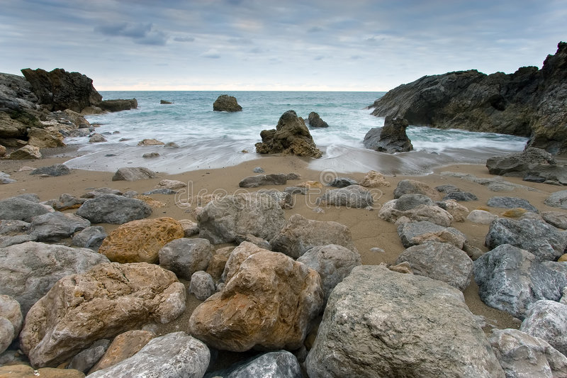 Rocks Of The Beach Of Usgo In Cantabria Royalty Free Stock Photos