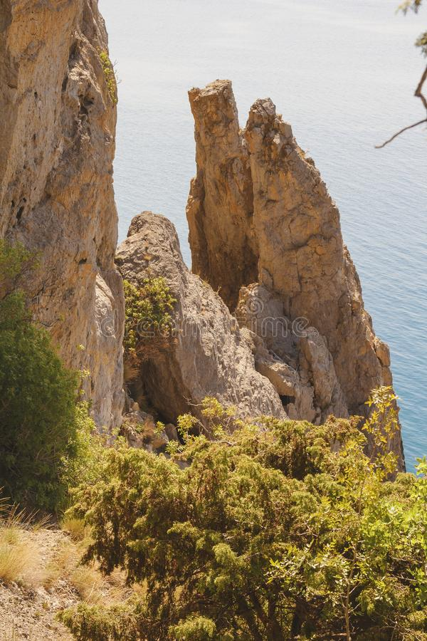 Rocks of bizarre shape, that broke away from a large rock. black sea coast royalty free stock photos