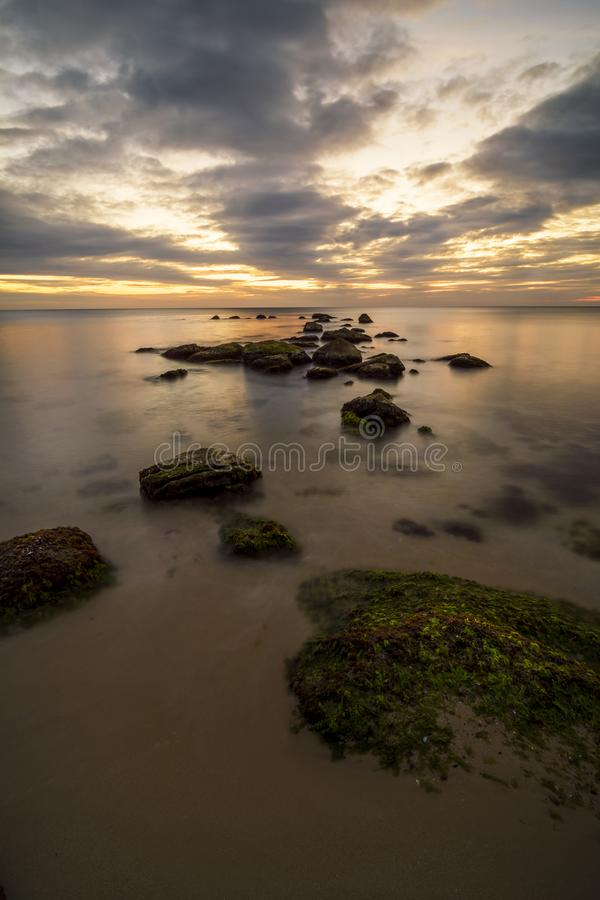 Rocks and Black sea stock images